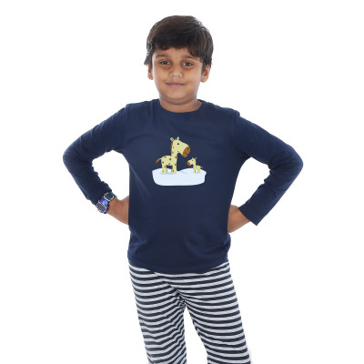 Blue Full Sleeve Boys Pyjama - Giraffe